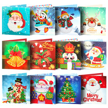 Huacan 5D Diamond Painting DIY Christmas Cards Embroidery Santa Claus Greeting Postcards  Mosaic Handmade Gift