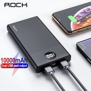 ROCK Power Bank 10000mAh Portable Fast Charging PowerBank 10000 Dual USB Mini External Battery Charger For Xiaomi Mi PoverBank(China)