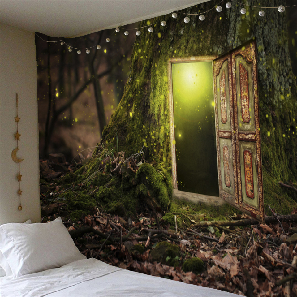 Mysterious Door Of Tree Tapestry Wall Hanging Psychedelic Forest Scenic Mushroom Elk Hippie Mandala Wall Carpet Decor Tapestries