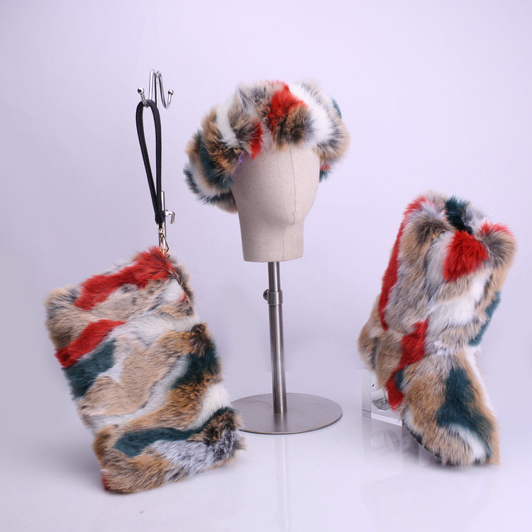 Furry Boots, Headband, and Purse Winter Shoes Set 5