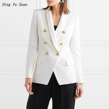Evening  Formal Blazer for Women Spring Black White Red Blue Double Breasted Jackets Blazers Women Special Blaser Feminino