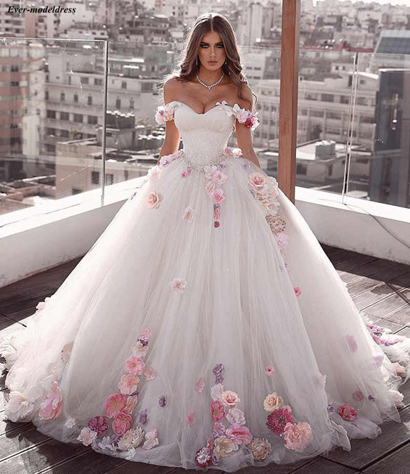 Princess Wedding Dresses 2020 Ball Gown Off Shoulder 3D Flowers Beaded Corset Back Bride Dress Bridal Gowns Vestido De Noiva