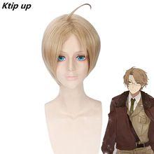 Ktip Up Anime APH Hetalia Axis Powers America Alfred F Jones Wig Cosplay Costume Men Short Synthetic Hair Halloween Party Wigs стоимость