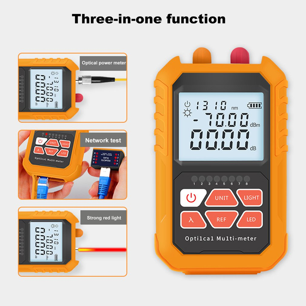 3 In 1 Red Light Laser Visual Fault Locator 5km Pen LED Lighting Optical Power Meter Network Fiber Optic Cable Tester Tools New