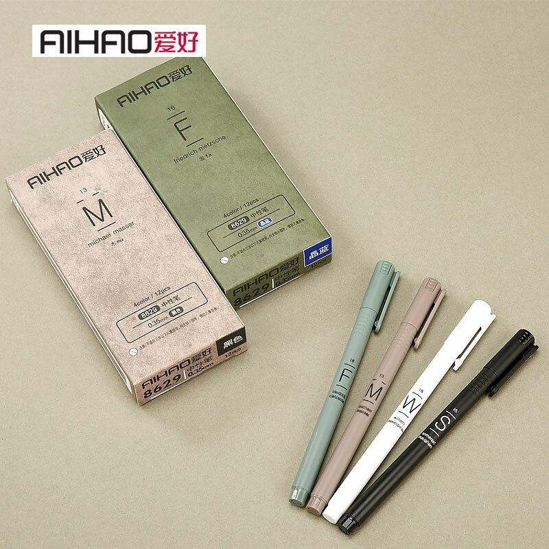 12Pcs MUJI Style 0.35mm Water-based Pens Gel Pen Set Black/Blue Gel Ink Pencils Maker Pen School Accessories Office Supplies
