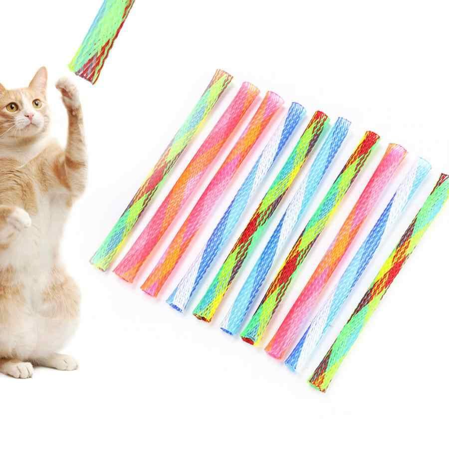 10Pcs Giocattoli Da Compagnia per il gatto Liberamente Pieghevole Primavera Forma Multi-Colore del Gatto Che Rimbalza Giocattolo Buona Elasticità Pet Giocare forniture giocattolo Gatto