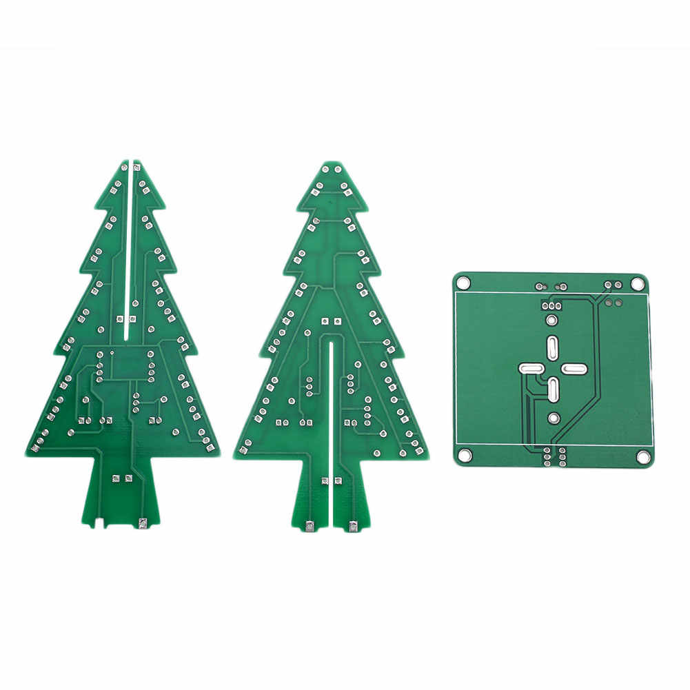 3D Xmas Christmas Trees DIY Kit LED Light Flash 3 Colors Circuit Gift Decor