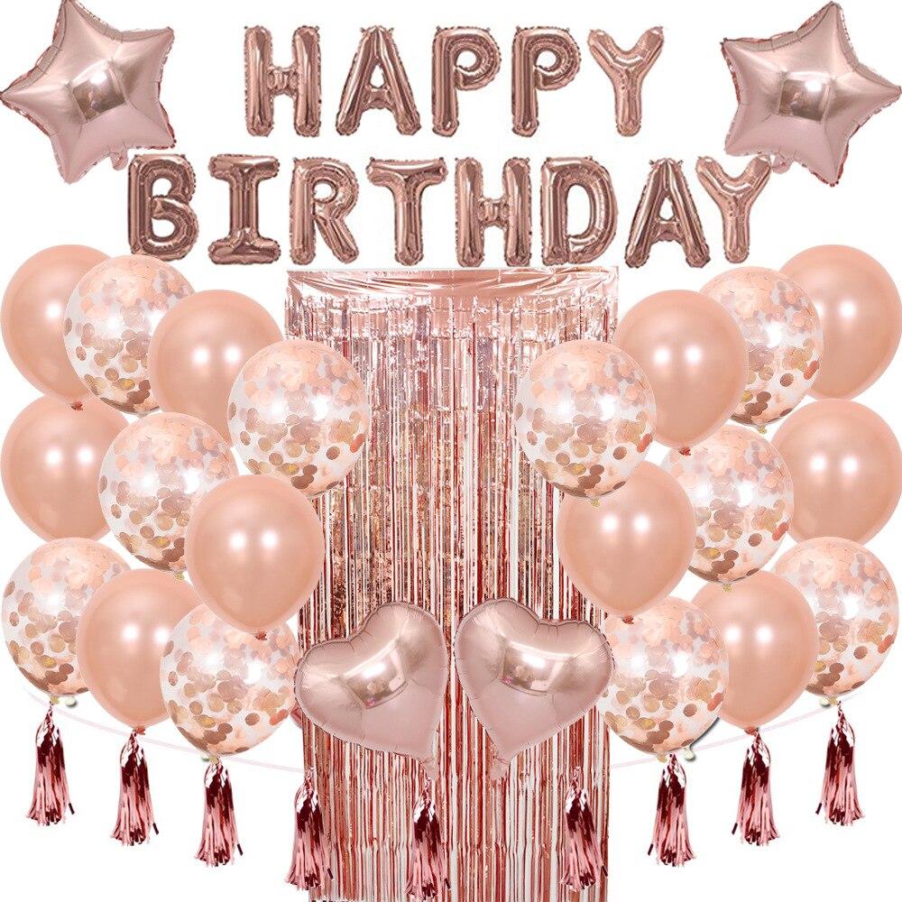28pcs Rose Gold Birthday Decoration Set Letter Happy Birthday Balloon Birthday Party Decor Kids Tassel Sequin Latex Balloon