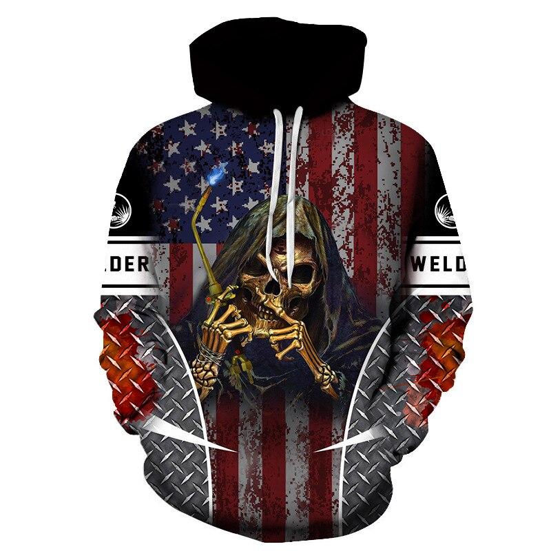 Skull Welder National Flag 3d Hoodies Men/women Sweatshirts Winter Outwear Jacket Oversize Boyfriend Gift Pullovers Warm Clothes