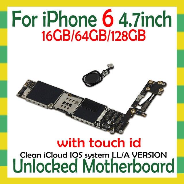 Sbloccato per iphone 6 Scheda Madre con/senza Touch ID per iphone 6 Schede Logiche con IOS funzione di Impronte Digitali