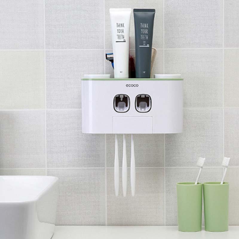 2019 athroom distributeur automatique de dentifrice dentifrice presse-agrumes mural pâte monté porte-brosse à dents accessoires de salle de bain ensemble