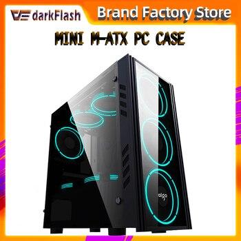 Aigo Small desktop computer case Dustproof gabinete pc gamer completo mini matx/itx htpc chasis Acrylic gaming pc case 1