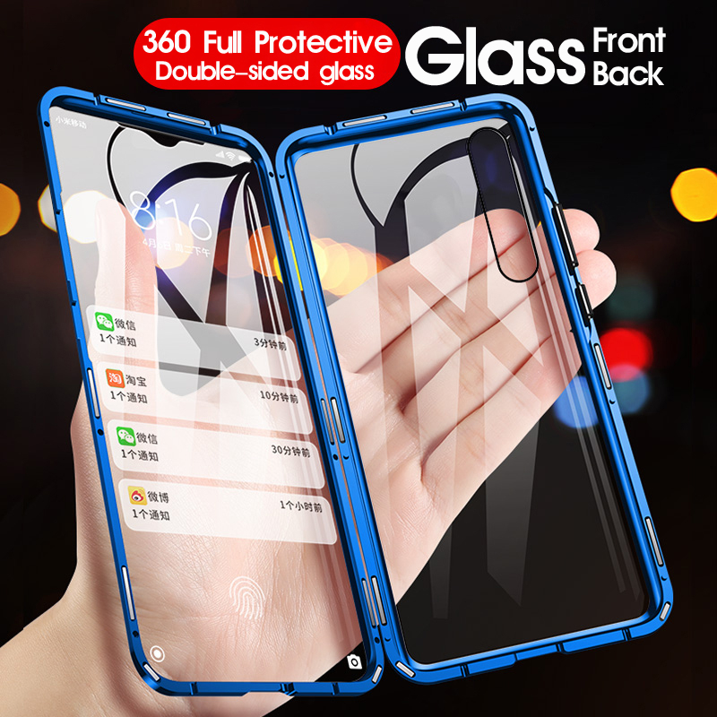 Double Sided Tempered Glass For Redmi Note 8 7 Pro K20 Mi 8 9 SE 9T Pro Metal Magnetic Adsorption 360 Full Protection Flip Cover(China)