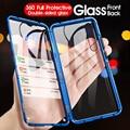 Vidrio templado de doble cara para Red mi Note 8 7 Pro K20 mi 8 9 SE 9T Pro adsorción magnética de Metal 360 protección completa Flip Cover