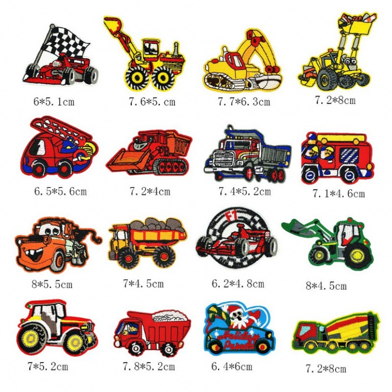 DIY Sew Applique Fabric Clothes Shoes Decoration <font><b>Patches</b></font> Accessory Cartoon Journey <font><b>Bus</b></font> Excavator Badge Stickers <font><b>Patch</b></font> 3D <font><b>Patches</b></font> image