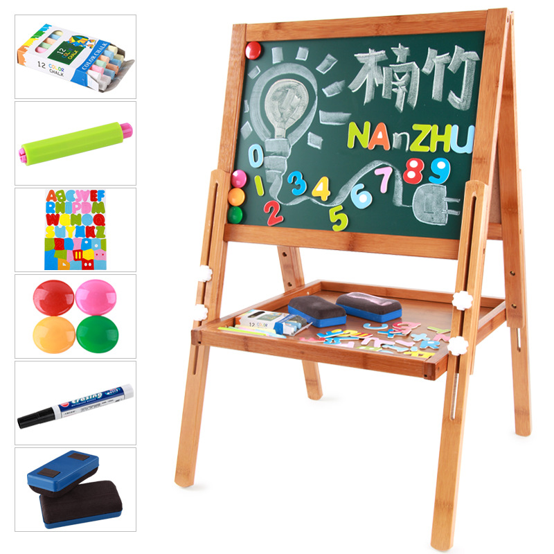 Cross Border Small CHILDREN'S Drawing Board Moso Bamboo Lifting Bracket Painted Description Element Board Double-Sided Magnetic