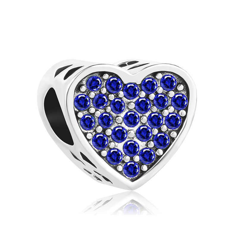 Novo frete grátis original europeu banhado a prata charme azul zircão grânulo caber pandora pulseira trinket diy jóias femininas