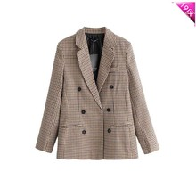 Casual Plaid 2019 Spring Women Blazer Single Breasted Feminino Notched Collar Long Sleeve Jacket Fashion plaid blazer