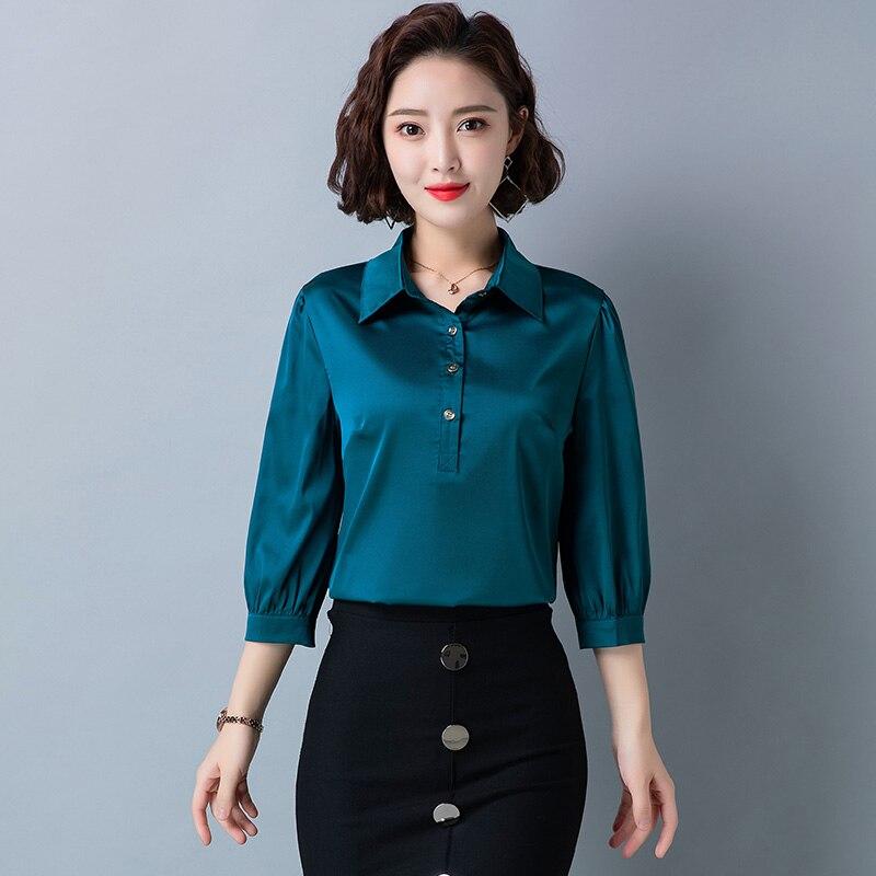Купить модные шелковые женские блузки в корейском стиле сатиновая офисная