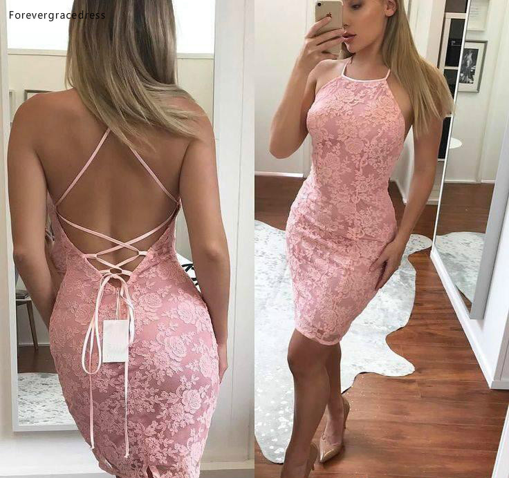 2019 Cheap Pink Sheath Mini Short Cocktail Dress Hater Lace Criss Cross Backless Semi Club Wear Homecoming Party Gown Plus Size