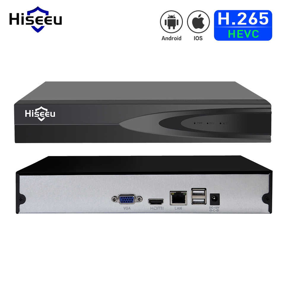 Hiseeu H.265 Video Surveillance Nvr Recorder 8CH 16CH 5MP 4MP 2MP Output Bewegingsdetectie Onvif Recorder Voor Ip Camera Metalen case