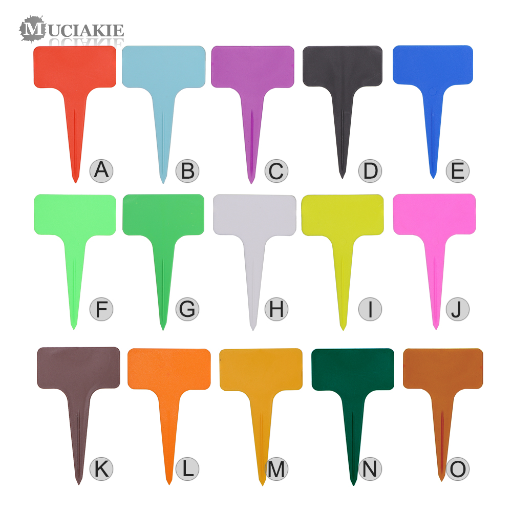MUCIAKIE 20PCS 6x9.8cm T Type Plant Tags Garden Colorful Flowers Markers Thickened Waterproof Labels Garden Seedlings Tags