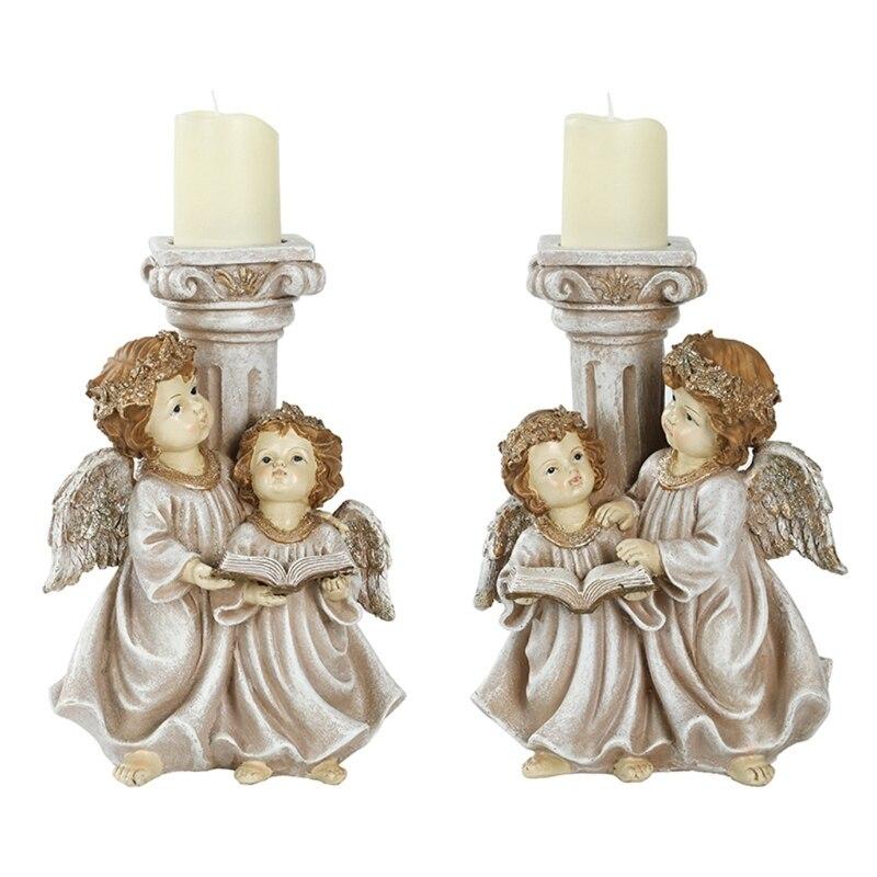 Ретро Свеча Держатель Смола Ангел цилиндр чайный светильник для рождества свадьбы Винтаж 667A,