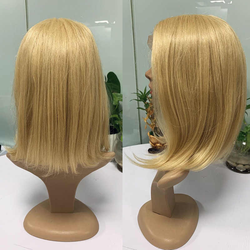 Omber peruka z krótkim bobem L częściowo koronka przodu tanie peruki dla czarnej kobiety #613 blond Natual prosto brazylijski Remy ludzki włos peruki 130%
