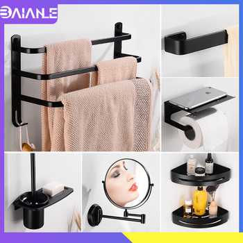 Towel Holder Black Towel Rack Hanging Holder Three Layer Towel Bar Aluminum Bathroom Shelf Shower Organizer Toilet Paper Holder two layer bathroom rack space aluminum towel washing shower basket bar shelf bathroom accessories shampoo holder 7842