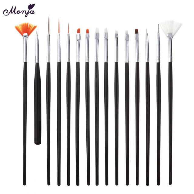 Monja Nail Art Brush Acrylic Liquid Powder UV Gel Nail Polish Brush Flower Painting Pen Manicure Tool 4