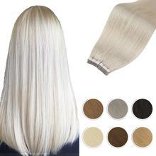 Extensiones de cinta Rubia de pelo humano, máquina recta, pelo brasileño Remy de 14 24 pulgadas, trama de recubrimiento de PU sin costuras, adhesivo de doble cara
