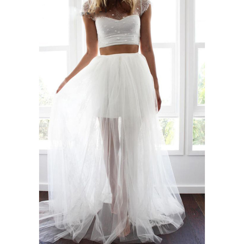 Scoop Short Sleeves Lace A-Line Wedding Dresses 2020 Two Piece Formal Tulle Bridal Gowns Customized Robe De Mariee Plus Size