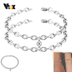 Vnox Attractive Charm Couple Bracelets for Women Men,Never Fade Stainless Steel Cuban Rolo Chain,Adjustable Xmas Lover Gift