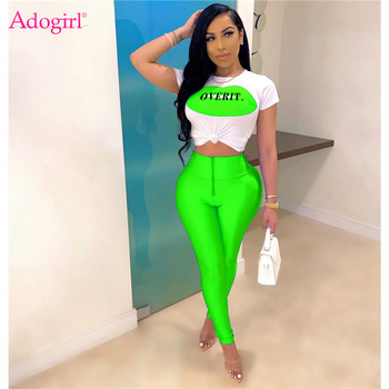 Adogirl S-3XL Lip Letter Print Women Casual Two Piece Set O Neck Short Sleeve Crop Top Pencil Pants Female Tracksuits