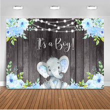 Its a Boy Elephant Backgdrop Boy Baby Shower Party Banner Decoration Blue Floral Rustic Wood Its Boy Elephant Background Props