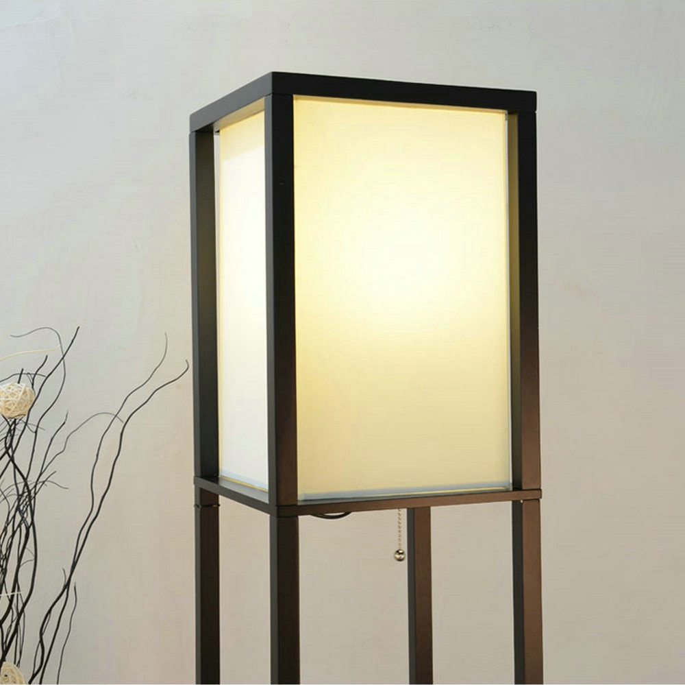 Image 4 - Modern LED Decorative Wooden Loft Floor Lamp Black White Standing Lamp with Table Storage Shelf for Home Living Room Bedrooms-in Floor Lamps from Lights & Lighting