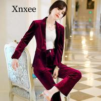 Woman suits lady suit office High quality gold velvet fashion long sleeve blazer female Pants suit 2020 winter new style