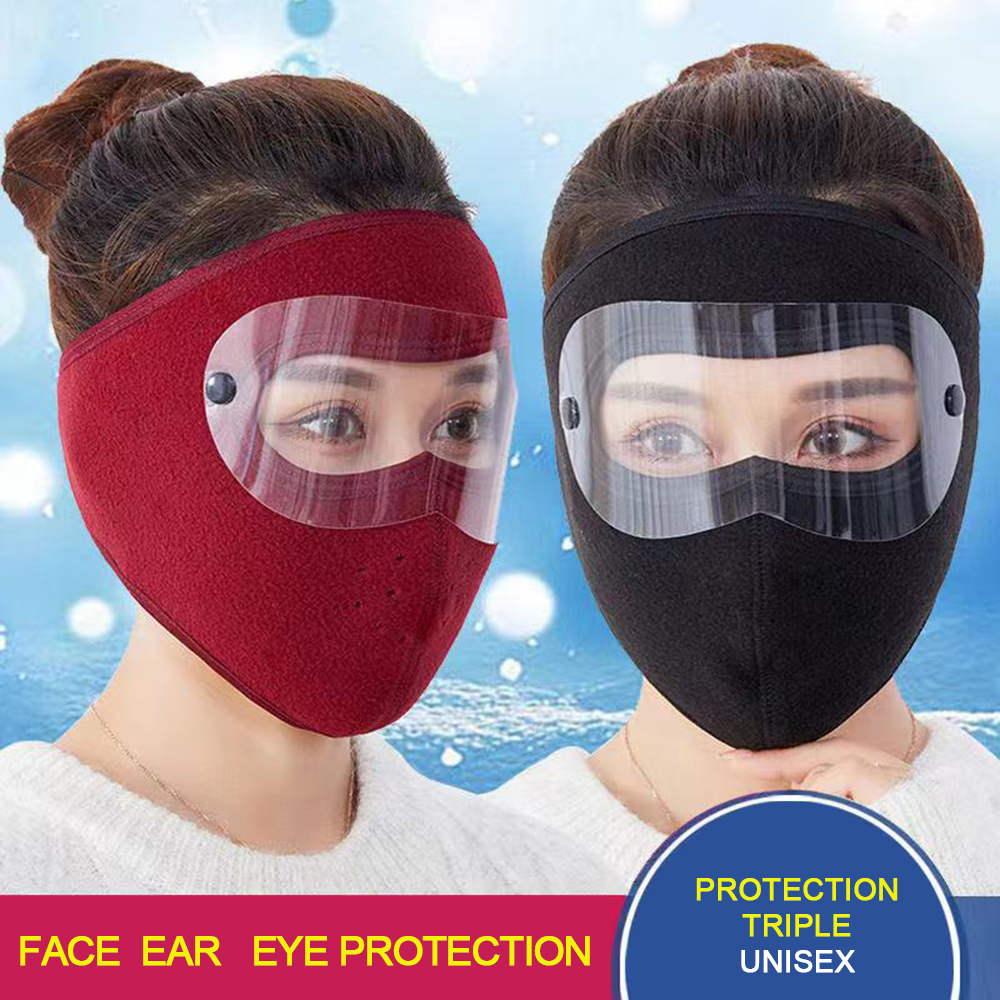 Headwear Cycling-Mask Outdoor Winter Keep-Warmth Fishing with Goggles Hat Skiing Full-Face-Mask