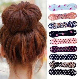 Mode Frauen Schwamm Haar Styling Twist Clip-Stick Brötchen-hersteller Braid Magie Werkzeug Haar Zubehör Floral Polka Dot Weibliche Haarband