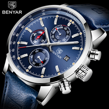 2020 BENYAR Watches Men Luxury Brand Quartz Chronograph Watch Fashion Sport Automatic Date Leather Mens Clock Relogio Masculino