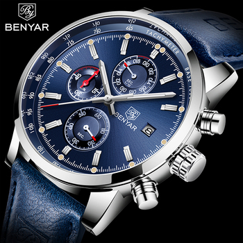 2020 BENYAR Watches Men Luxury Brand Quartz Chronograph Watch Fashion Sport Automatic Date Leather Men's Clock Relogio Masculino relogio masculino benyar fashion gold chronograph sport watch mens top brand luxury date quartz wrist watches clock man reloj