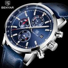 2020 Benyar Horloges Mannen Luxe Merk Quartz Chronograaf Horloge Mode Sport Automatische Datum Lederen Heren Klok Relogio Masculino