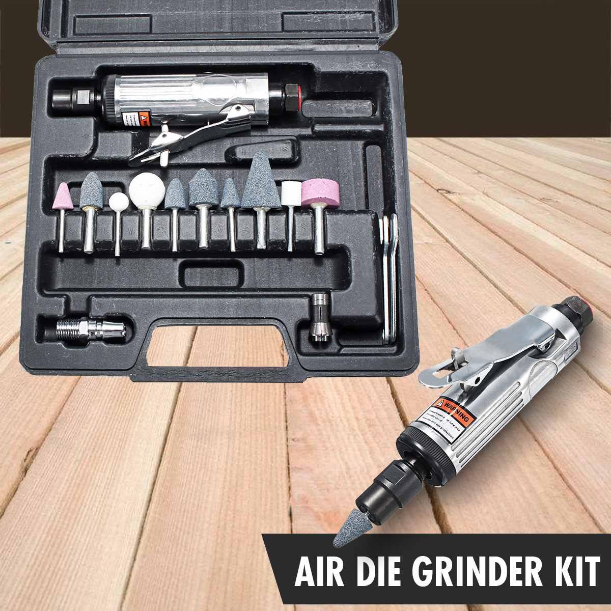 16 Pcs Air Compressor Die Grinder Grinding Polish Stone Kit 1/4 Inch Air Grinder Mill Engraving Tools Kits Pneumatic Tools