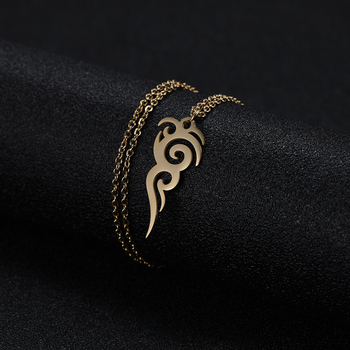Cooltime Stainless Steel Retro Tribal Totem Easter Long Pendant Necklaces Black Amulet Necklace Jewelry Christmas Gift 4