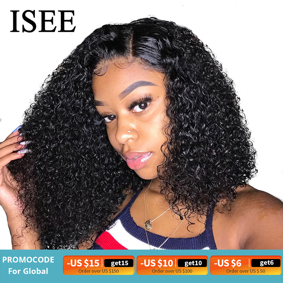 ISEE HAIR Curly Bob Lace Front Wigs For Women Kinky Curly Lace Front Wig 360 Lace Frontal Wig Brazilian Curly Human Hair Wigs|Human Hair Lace Wigs|   - AliExpress