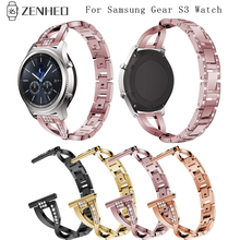 46mm metal watch strap For Samsung Gear S3 watches bands Replacement White Diamond Wristband 22mm Bracelet