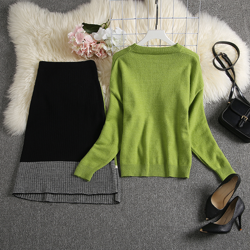 ALPHALMODA 2019 Autumn New Arrived Women Knitting Sweater Skirt Suits Bright Color Youthful Winter Knitting Outfit 2pcs Set 88