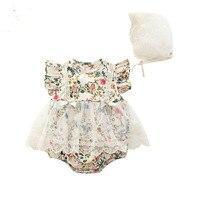 Baby Clothes Sets Newborn Infant Sunsuit Girls Bodysuit+Lace Hat 2pcs/set Floral Print Jumpsuit Outfits 0-18M