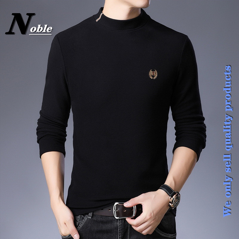 High-end new men's turtleneck pullover casual fashion comfortable breathe colorfast pure color keep warm All-match base shirt