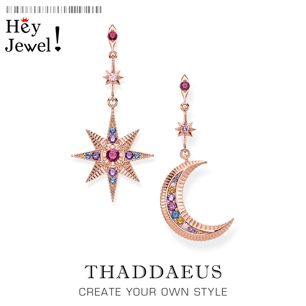 Drop Earring Star & Moon Vintage Gift For Women High Quality Mismatch Look Rose Gold Color 925 Sterling Silver Fashion Jewelry